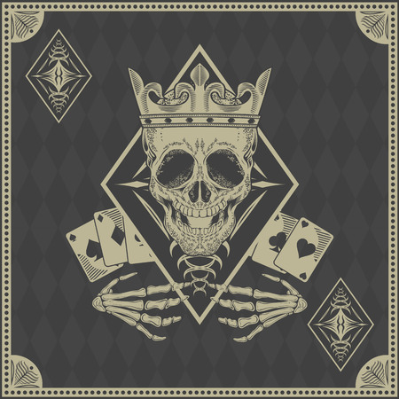 skull vector: skull poker card vector
