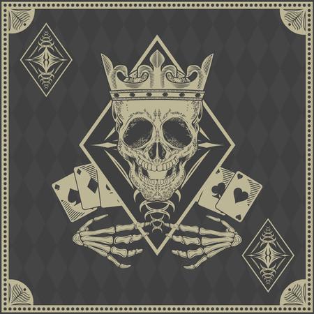 calaveras: tarjeta de p�quer cr�neo del vector