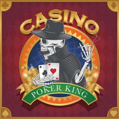 card game: Casino background poker and casino label