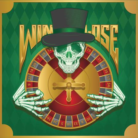 damnation: win or lose roulette wheel Illustration