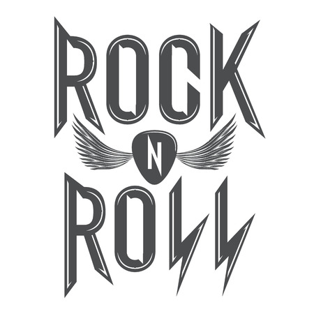 rock and roll music emblems, poster, labels, design elements.