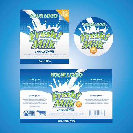 caja de leche: etiqueta de leche fresca