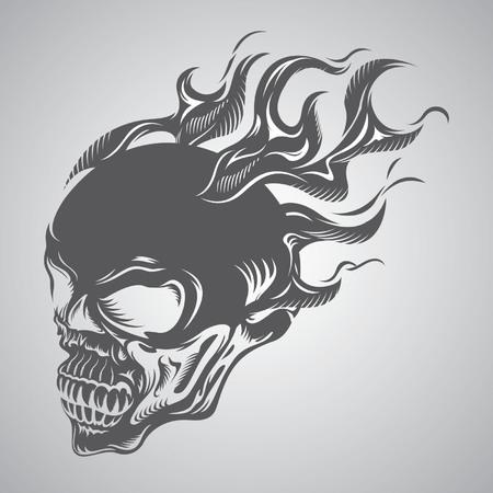 calavera: cráneo en llamas