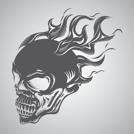 skull on fire Illustration