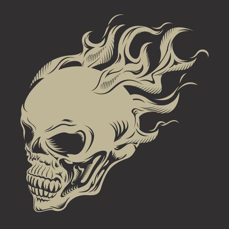 fire skull: skull on fire Illustration