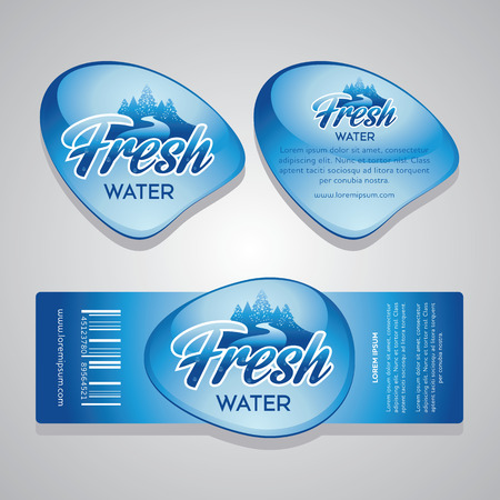 A logo type collection set of Drinking Water Label in blue printed paper with a text sign Fresh water, isolated on gray.
