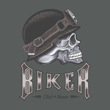Biker text with skull design in monochrome illustration. Illusztráció