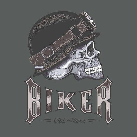 Biker text with skull design in monochrome illustration. Vettoriali