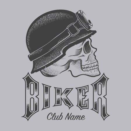 ●バイカーの頭蓋骨イラスト  イラスト・ベクター素材