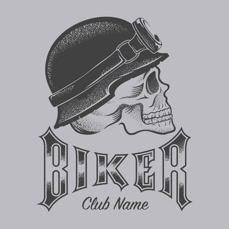 Biker with skull illustration