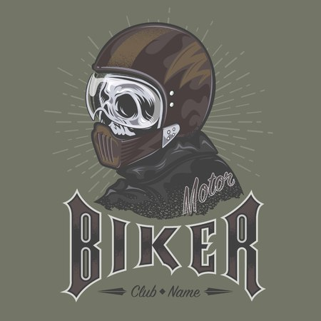 skull biker vector Illustration