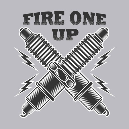 fire one up on gray background. Vector illustration. Vettoriali