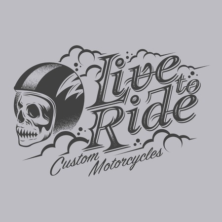 live to ride text with skull in a helmet Vector illustration. Vettoriali