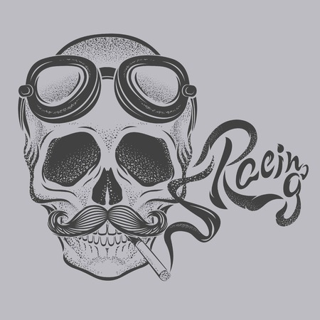Skull with racing lettering vector.