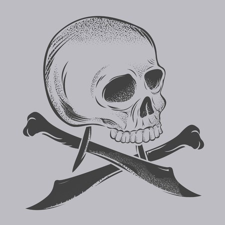 skull knives on gray background, Vector illustration. Banco de Imagens - 96688769