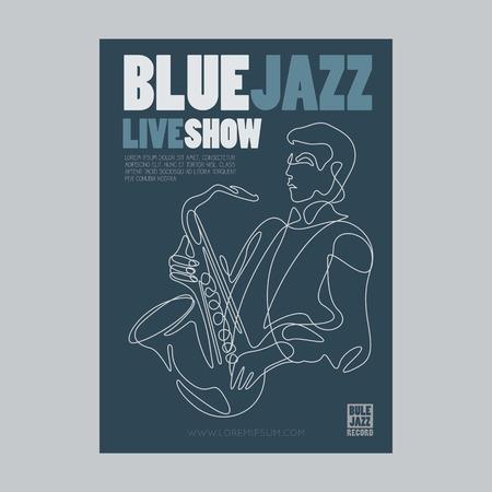 Blue jazz live show banner poster design