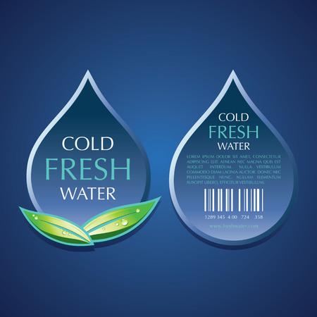 Water label vector templates design on blue background. Banco de Imagens - 98074416