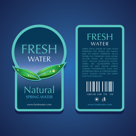 Water label vector templates design on blue background.