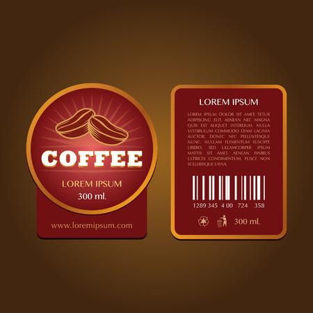 coffee label vector template Vettoriali