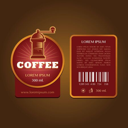 coffee label vector template Illustration