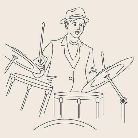 cartoon jazz drummer character