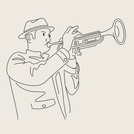cartoon jazz trumpeteer character