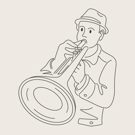 cartoon jazz character Vettoriali