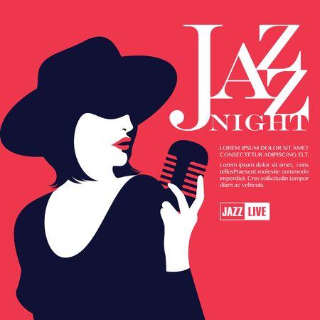 Lady Jazz Night Vettoriali
