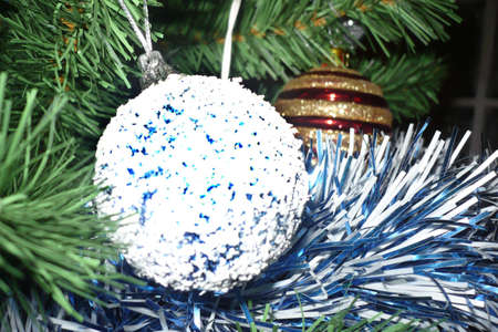 upclose: Globe in a christmas tree upclose, blue Stock Photo