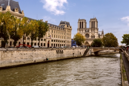 Notre Dam and the Seine river Stock Photo