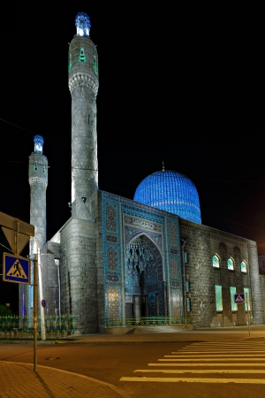 Old Mosque in the Saint Petersburg Russia, night view