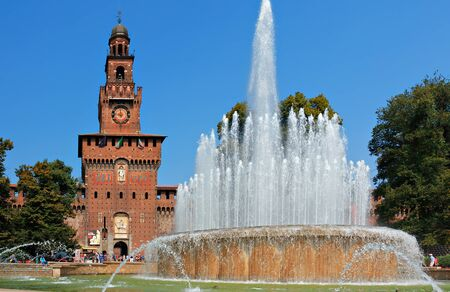 sforzesco: Fountain next to the Sforzesco castle in Milan Italy Editorial