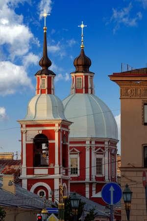 panteleimon: Saint Panteleimon church and belfry in cloudy weather Stock Photo