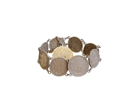 numismatic: Bracelet of old Russian coins Stock Photo