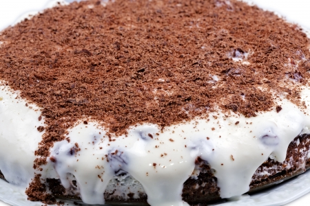 piped: Cherry cake with chocolate crumb