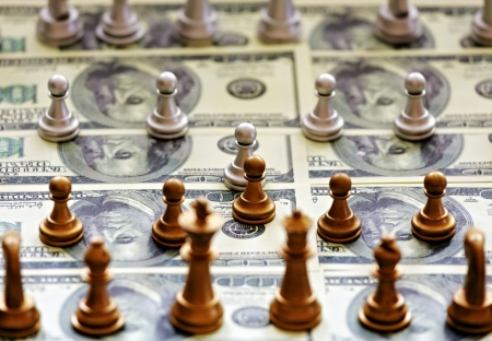 Chess pieces on the dollar field