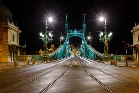 danuba: The Freedom bridge in Budapest Hungary by night. Editorial