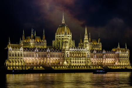 The night scene of the Budapest and the Danube river