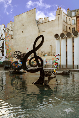 composer: Paris. Sculptures spray water, representing works of composer Igor Stravinsky