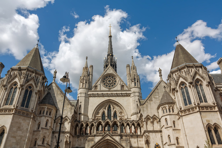 Royal Courts of Justice in the Victorian Gothic style in London, UK.