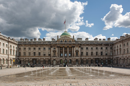 grand strand: LONDON, UK - 12 May, 2014: The exterior of somerset house in London. Somerset House is a major arts and cultural center Editorial