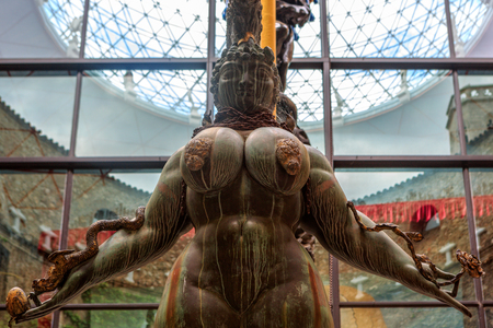 salvador dali: Figueres, Spain - June 17, 2014: Inside the Dali Theater Museum. It houses the largest and most diverse collection of works by Salvador Dali
