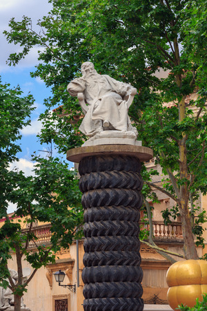 salvador dali: Figueres, Spain - June 17, 2014: Outdoor Sculpture near Dalis Theatre - Museum building, opened on September 28, 1974 and housing the largest collection of works by Salvador Dali.