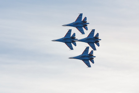 aerobatic: SAINTPETERSBURG RUSSIA APRIL 25 2015: Aerobatic team