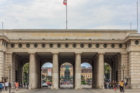hofburg: VIENNA, AUSTRIA - JUNE 27, 2015: Hofburg Palace Gate In Vienna. Built in the 13th century Hofburg Palace is the former imperial palace Editorial