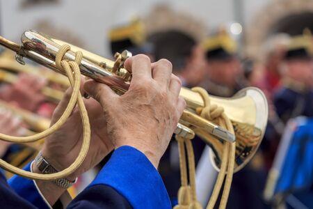 brass  band: VIENNA, AUSTRIA - JUNE 27, 2015: Viennese military brass band. Performance on the square in Vienna, Austria. Editorial