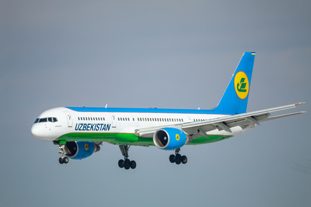 SAINT PETERSBURG, RUSSIA - APRIL 19, 2017: Flying the Boeing 757-23P (UK75701) airline «Uzbekistan Airways». The plane goes on landing at Pulkovo airport.
