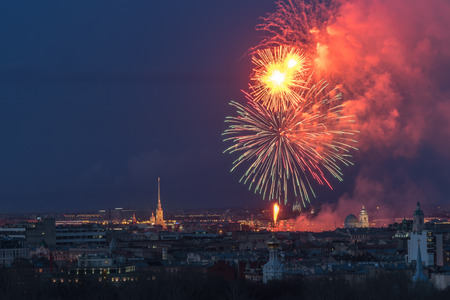 Fireworks over the city of St. Petersburg (Russia)