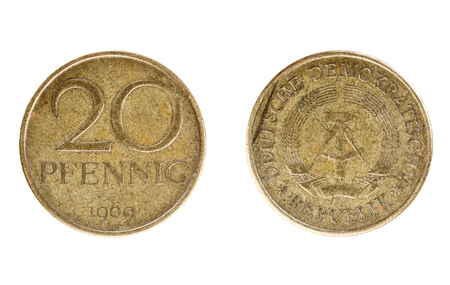 Set of commemorative the East German coin, the nominal value of 20 Pfennig , from 1969. Isolate on white background Stock Photo