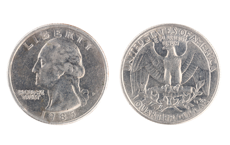 Set of commemorative the USA coin, the nominal value of Quarter dollar, from 1985. Isolate on white background Stock Photo